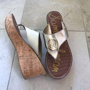 Sam Edelman Gold Ruth Cork Wedge Sandals Size 10